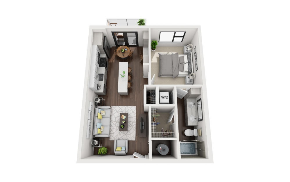 A1 - 1 bedroom floorplan layout with 1 bath and 672 square feet.