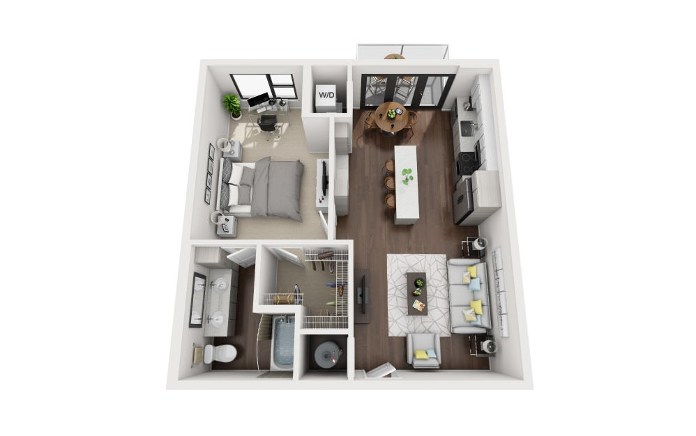 A2 - 1 bedroom floorplan layout with 1 bath and 756 square feet.