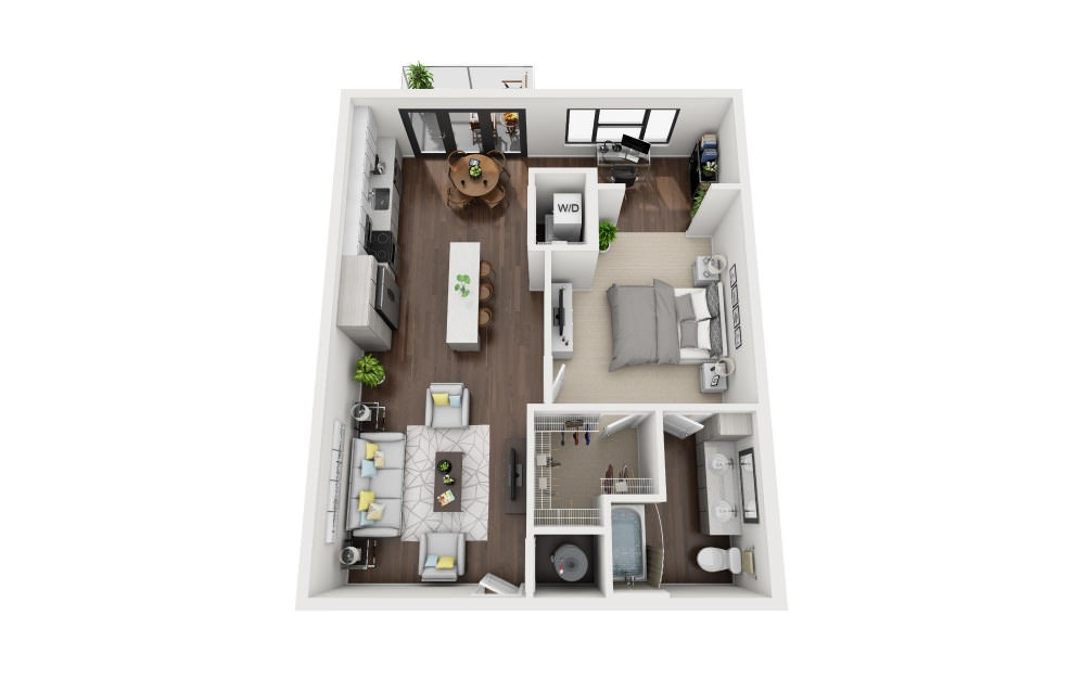 A2B - 1 bedroom floorplan layout with 1 bath and 760 square feet.