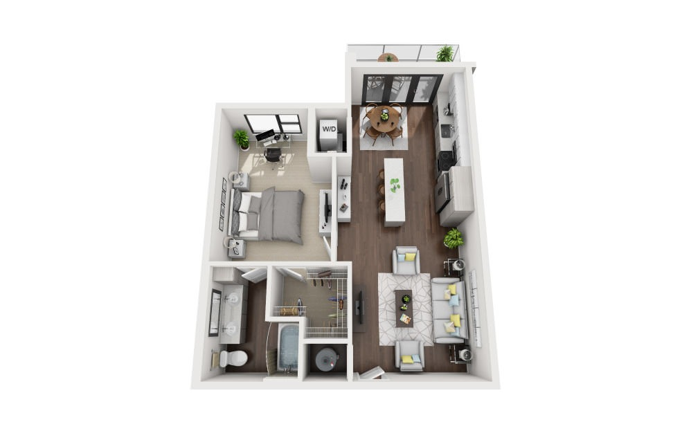 A2C - 1 bedroom floorplan layout with 1 bath and 891 square feet.