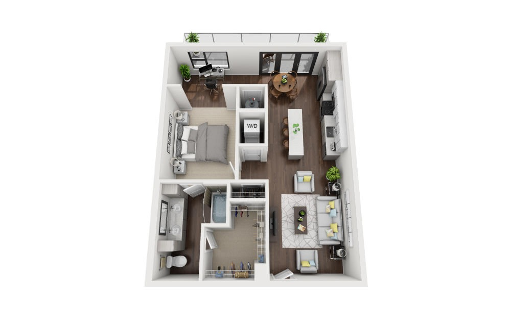A3 - 1 bedroom floorplan layout with 1 bath and 858 square feet.