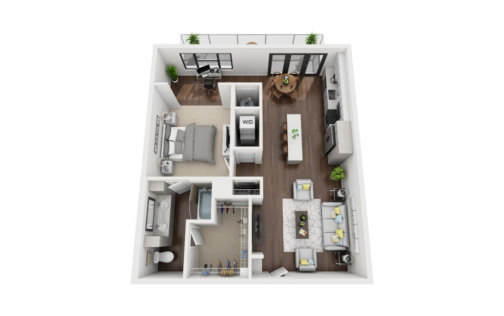 A4 - 1 bedroom floorplan layout with 1 bath and 957 square feet.