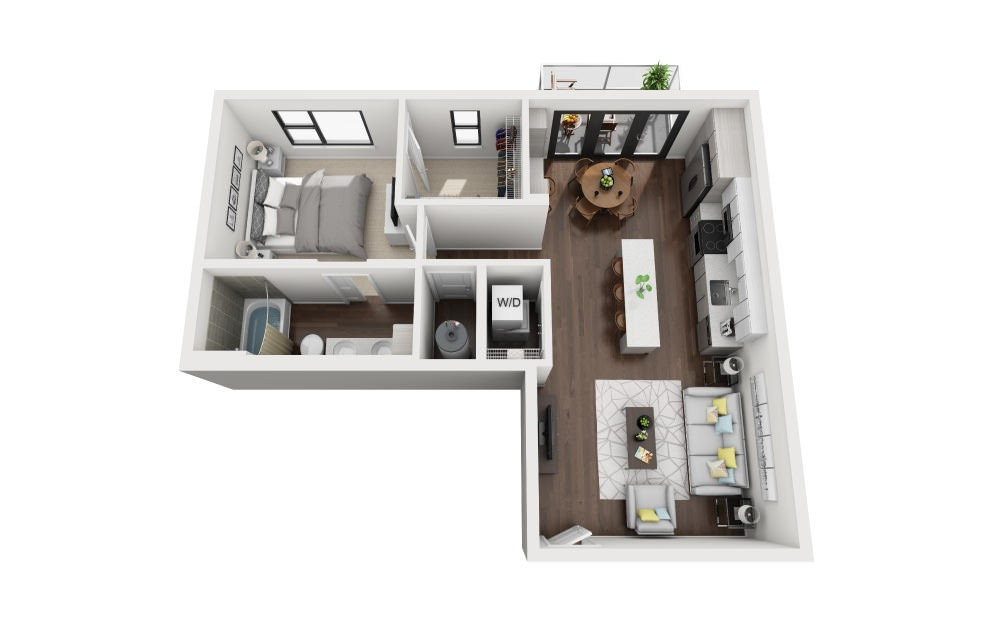 A6 - 1 bedroom floorplan layout with 1 bath and 764 square feet.