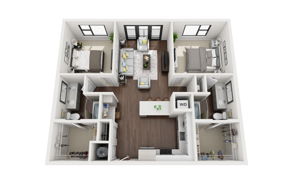 B1A - 2 bedroom floorplan layout with 2 baths and 1095 square feet.