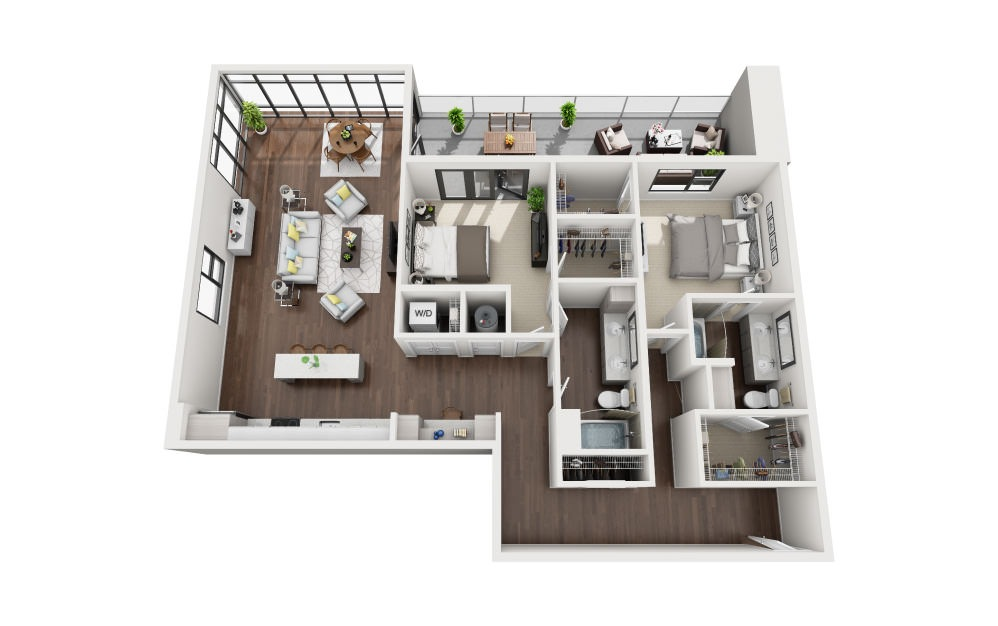 B3A - 2 bedroom floorplan layout with 2 baths and 1583 square feet.