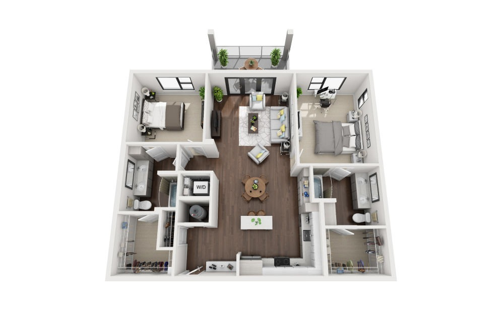 B3B - 2 bedroom floorplan layout with 2 baths and 1337 square feet.