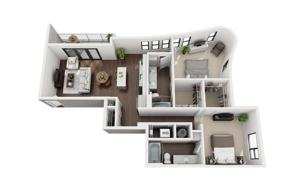 B6 - 2 bedroom floorplan layout with 2 baths and 1202 square feet.