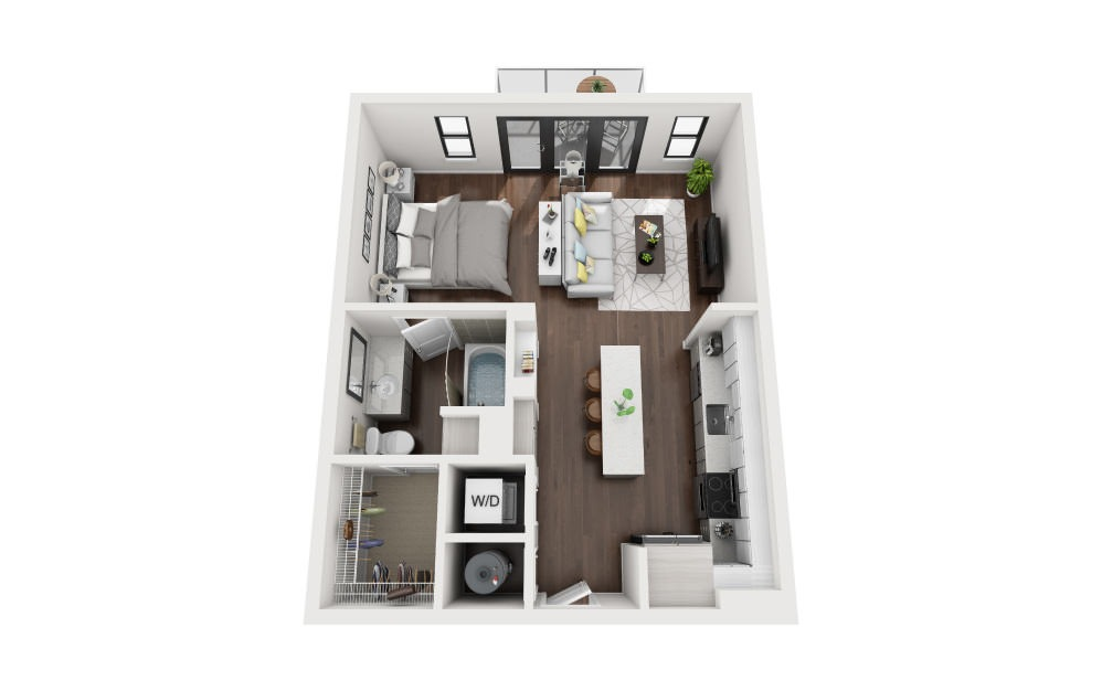 E2 - Studio floorplan layout with 1 bath and 628 square feet.