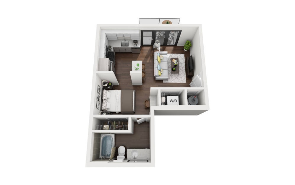 E3 - Studio floorplan layout with 1 bath and 497 square feet.
