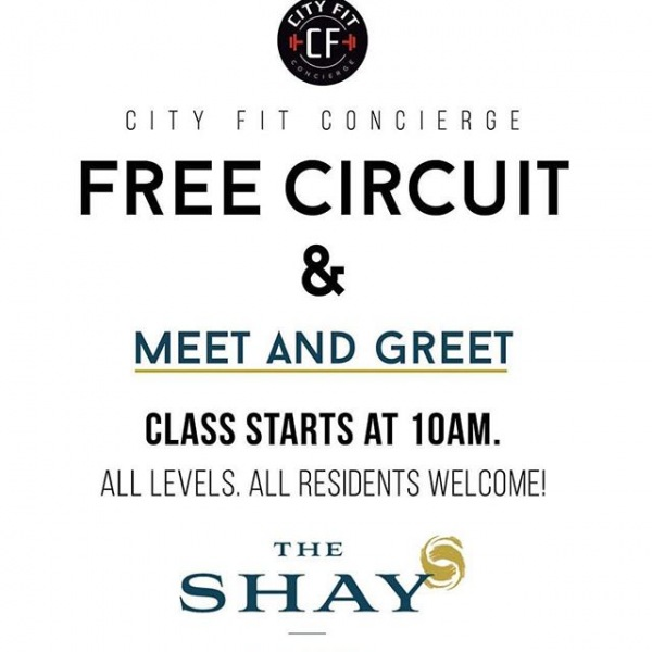 This Saturday at 10AM join us and Team @cityfitconcierge for a FREE community workout! Everyone is welcome so bring a friend and come get #cityfit with us. Refreshments to follow the workout at The Shay's energy bar.  #LiveTheShay #cityfitconcierge #nashville #musiccity #nashvillefit #fitness #wellness #community #aptliving #running