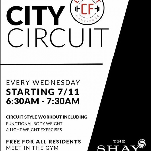 "Join tomorrow us for ""Workout Wednesday"" with @cityfitconcierge!! Free for all residents! Meet in the gym at 6:30am. . . . . #makethecityfit #nashville #nashvillefit #cityfit #livetheshay #fittness #onec1ty #workout #circuittraining #workoutwednesday"