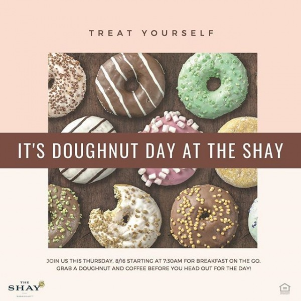 Tomorrow is Doughnut Day at The Shay!! Joins us tomorrow morning starting at 7:30AM for breakfast on the go. . . . . . #breakfast #doughnuts #coffe #breakfasttime #nashville #food #livetheshay #onec1ty #westisbest
